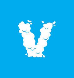 letter v cloud font symbol white alphabet sign on vector image