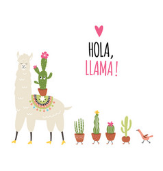 Llama and cactuses vector