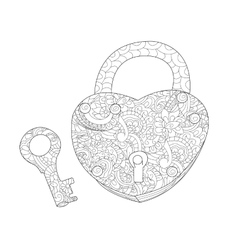 Lock and key coloring book for adults vector image