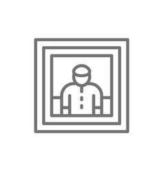 man portrait painting photo selfie line icon vector image