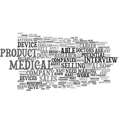 Medical device careers text background word cloud vector