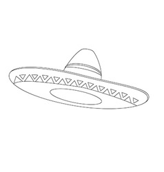 Mexican hat outline drawings vector image