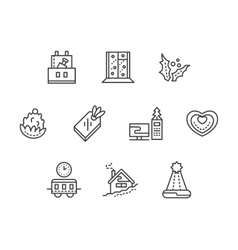 New Year at work black line icons set vector image