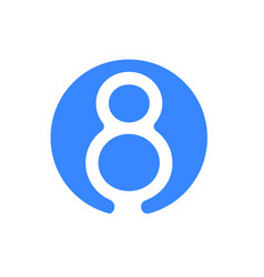 number 8 eight font logo blue icon vector image