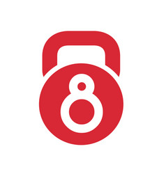 number 8 kettlebell gym logo icon vector image
