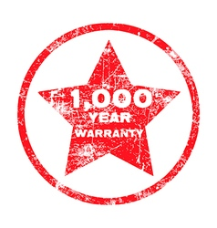 One thousand year warranty red grungy stamp vector image