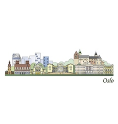 Oslo skyline colored vector image