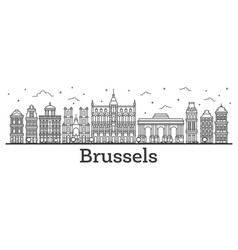 Outline brussels belgium city skyline with vector
