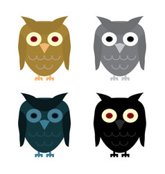 Owl day night gray and halloween black owl vector