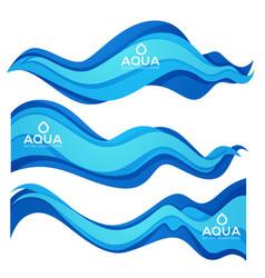 Paper cut spring aqua flow design element for vector