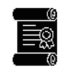 pixelated diploma game icon vector image