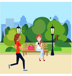 Public urban park woman outdoors running sitting vector