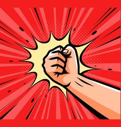 Punch raised up clenched fist in retro pop art vector
