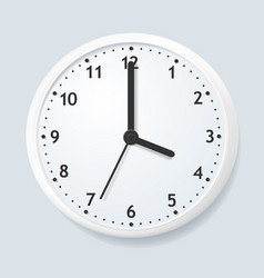 Realistic detailed 3d wall clock on a grey vector