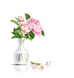 Realistic pink rose flower leaves bouquet vector