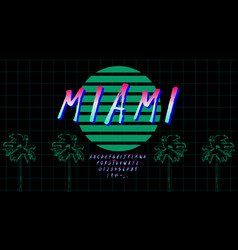 retrowave font in 80s style pink green gradient vector image