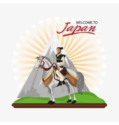 Samurai and horse cartoon design vector image