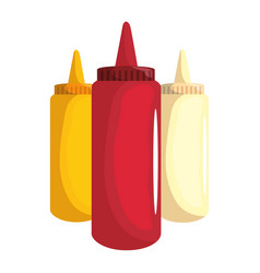 Sauces plastic bottles vector