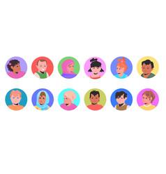 set mix race children avatars little kids faces vector image