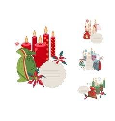 Set of Christmas frames with candles and vector image