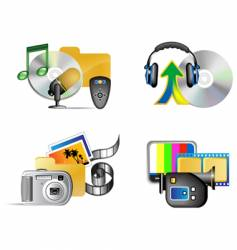set of multimedia internet icon vector image
