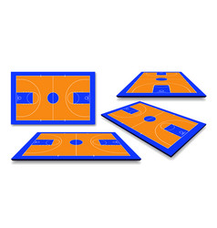 set perspective basketball court floor with line vector image