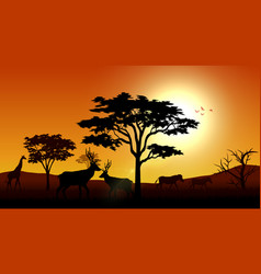 Silhouette animals savannas in the afternoon vector