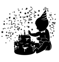 Silhouette baby with birthday cake with candle vector