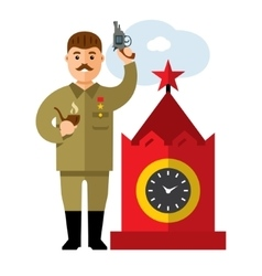 Soviet leader parodic character flat style vector