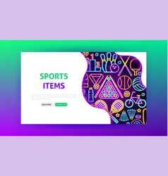 sport items neon landing page vector image