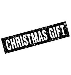 Square grunge black christmas gift stamp vector