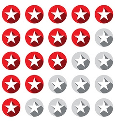 Stars Rating Symbols Set Red and Grey - Silver vector image