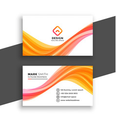 Stylish wavy white business card template design vector