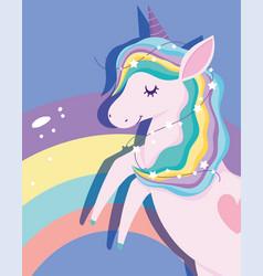 tangled unicorn with stars rainbow mane magic vector image