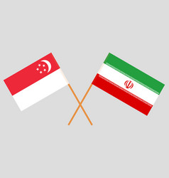The singaporean and iranian flags vector