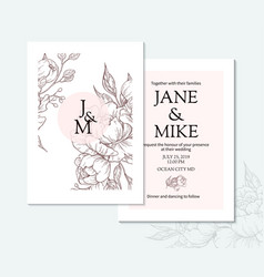 Vintage elegant wedding invitation card template vector