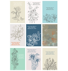 Vintage Floral Cards Set vector image