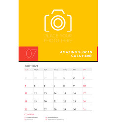 Wall calendar planner template for july 2021 week vector