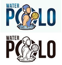 Water polo text with sport players graphic vector