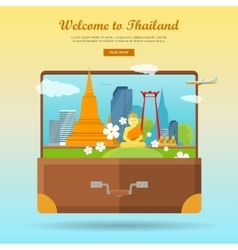 Welcome to Thailand Flat Style Web Banner vector