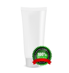 White cream tube with natural sign vector image