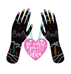with black hands doodle mountains trails pine vector image