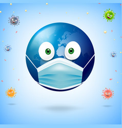 World cartoon wearing surgical mask for vector