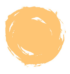 Yellow brush stroke circle shape vector