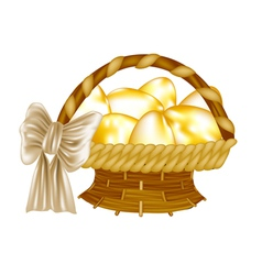 easter basket with golden eggs vector image