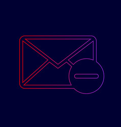 mail sign line icon with vector image