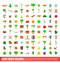100 tree icons set cartoon style vector image