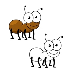Cartoon brown worker ant insect vector image vector image