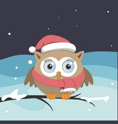 female owl with santa claus hat on a branch vector image