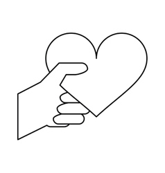 hand with heart romantic valentines day outline vector image vector image